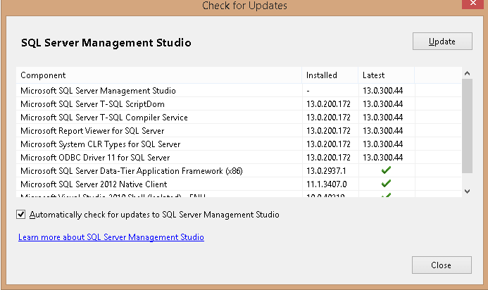 Check for Updates im SQL Server Management Studio