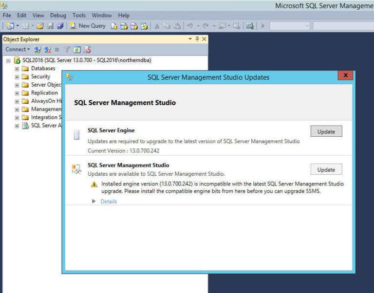 SQL Server 2016 Managment Studio 2016 CTP - Find Updates