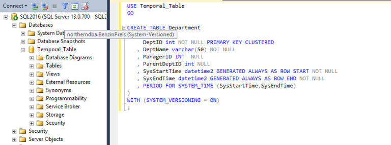 Temporal Tables mit SQL Server 2016 CTP 3.1
