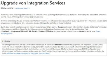 Upgrade SSIS auf SQL Server 2014