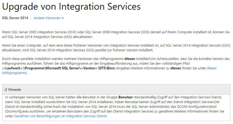 Upgrade SSIS auf SQL Server 2014