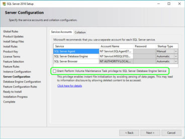 SQLServer2016 Instant File Initialization