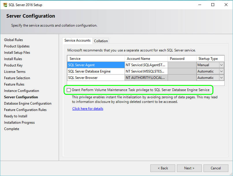SQL Server 2016 - Instant File Initialization