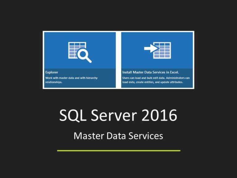 SQL Server 2016 Master Data Services