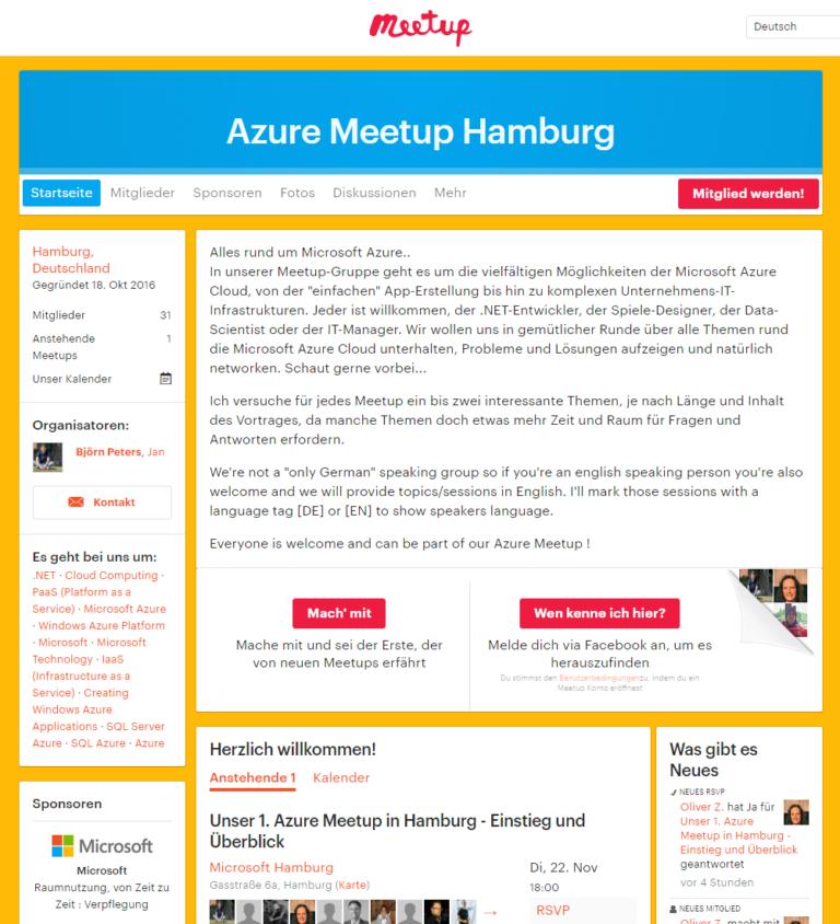 Azure Meetup Hamburg - Startseite