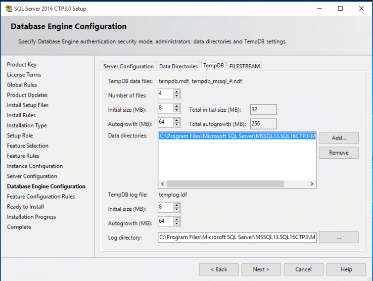 SQLServer2016 - Configure TempDB during Installation