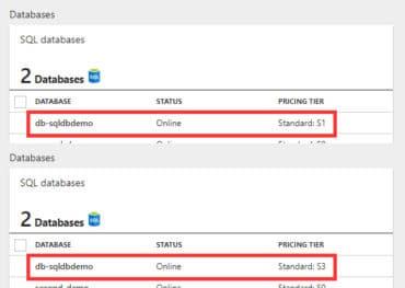 Vorher-Nachher-Resize Azure SQL Database