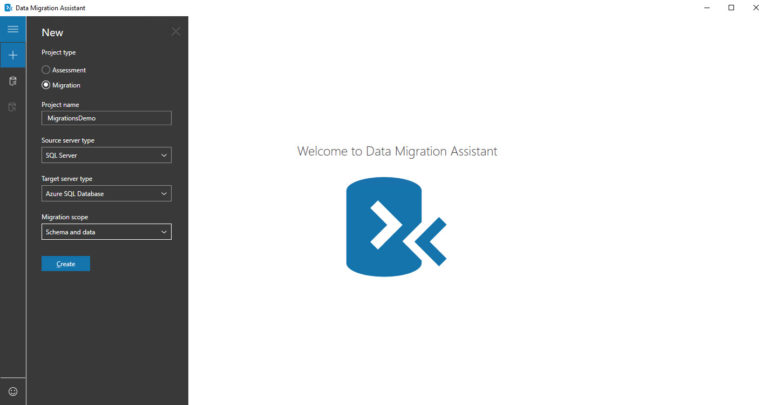 Azure SQL Database Migration via Data Migration Assistant - Schritt 1 - New Connection