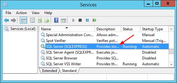 Overview SQLServer Services GUI