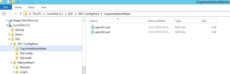 Folder and File Structure for my first Desired State Configuration deployment