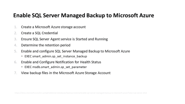 Enable SQL Server Managed Backup to Microsoft Azure