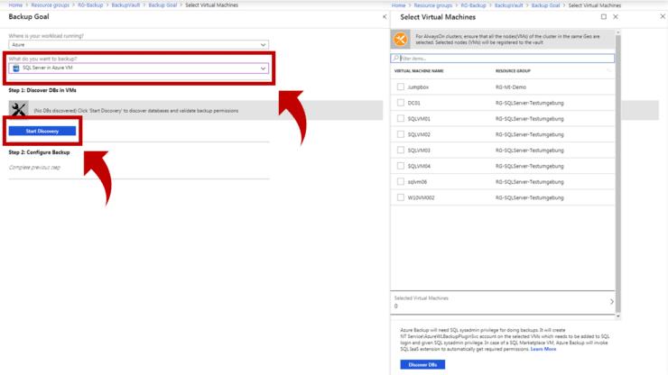 Einrichten eines SQL Server Backups über das Portal mit Azure Backup in meiner Demo-Umgebung