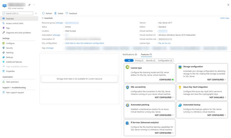 Azure SQL VM - No data in the portal for disk usage