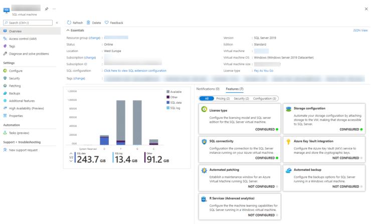 Azure SQL VM - Data in the portal for disk usage