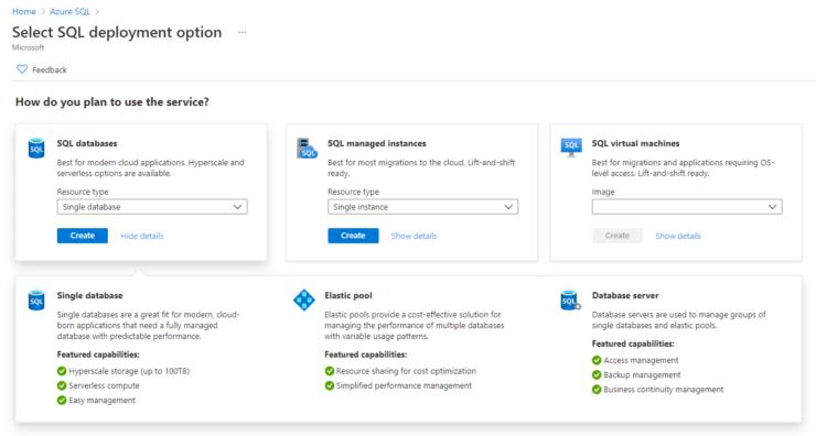 Azure SQL Database - Darstellung des Azure Portals - Auswahl der unterschiedlichen Services