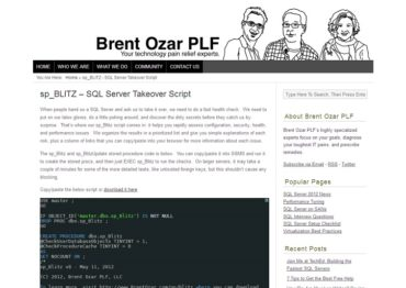 Brentozar.com - sp_BLITZ - SQL Server Takeover Script