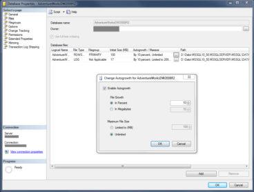 SQL Datenbank Eigenschaften Autogrowth
